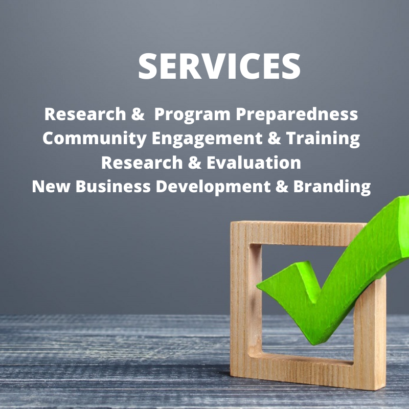 Research preparedness community engagement training social marketing branding research and evaluaton services provided with check box on grey background